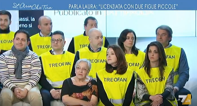 """I lavoratori della Treofan nello studio di La7: """"Libero cannibalismo, distruggono lavoro e territorio"""""""