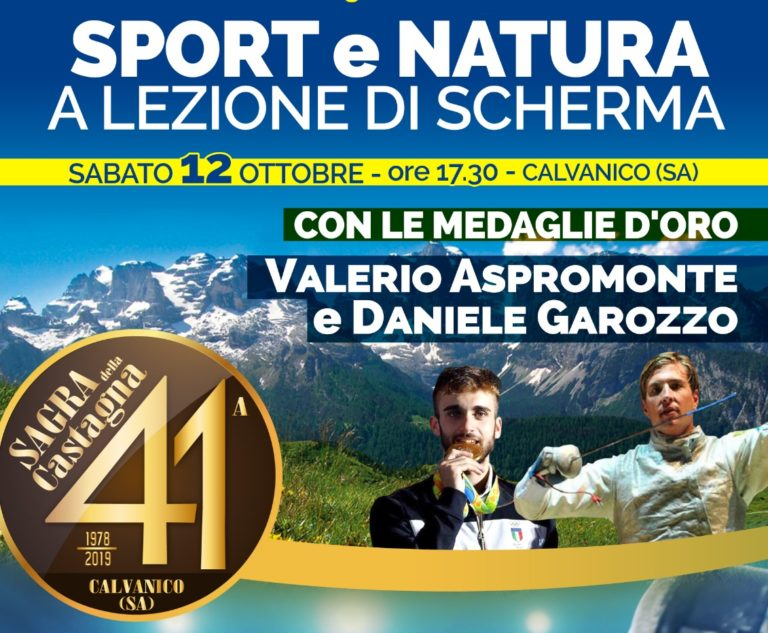 I due ori olimpici Daniele Garozzo e Valerio Aspromonte alla Sagra della Castagna di Calvanico