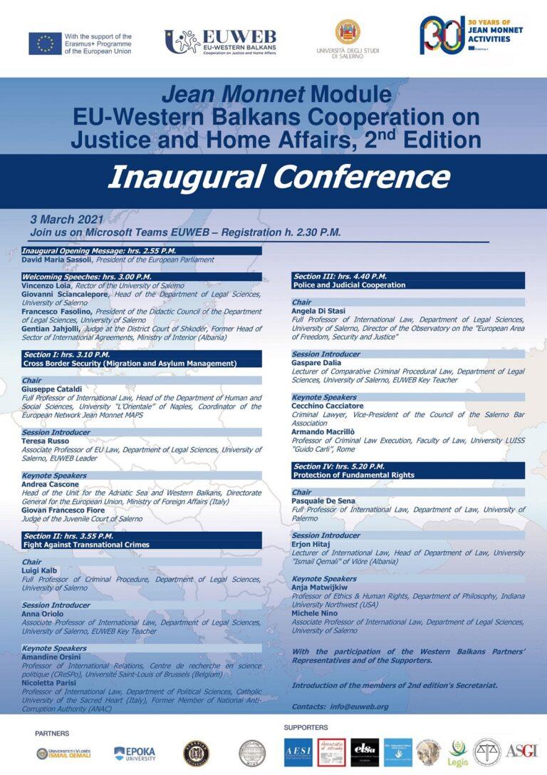 UNISA, Conferenza inaugurale della II edizione del Modulo Jean MonnetEUWEB