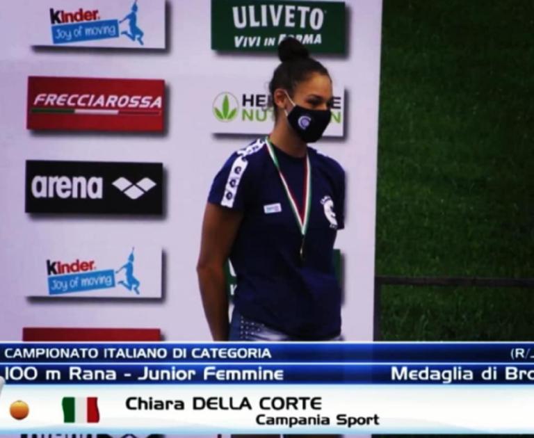 Nuoto, Chiara Della Corte sul podio del Campionato Italiano di Categoria